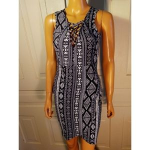 Lace-up tribal aztec printed bodycon pencil dress